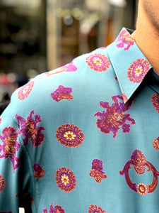 Mr Twin #2 Vintage Printed Shirt for Men Collar
