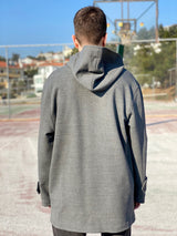 back side of vintage style grey jacket with hoodie