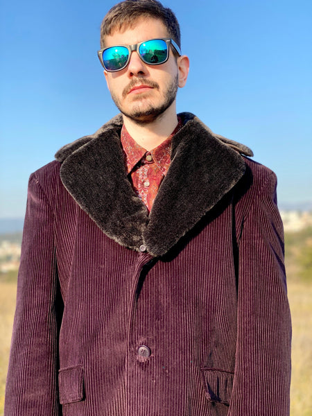 Burgundy Corduroy Vintage Coat with Fur lapel
