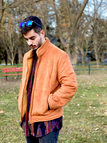 90s fashion orange vintage bomber jacket