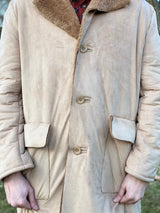 Vintage style beige coat for men details