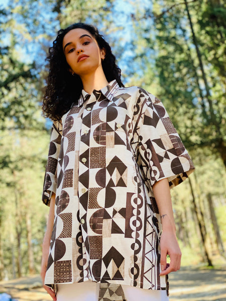 Mrs. Polygonal Vintage Shirt (Brown)