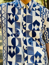 The abstract prints details consisted of multiple shapes in blue and white colors