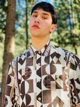 unique vintage style patterned shirt with brown and white color
