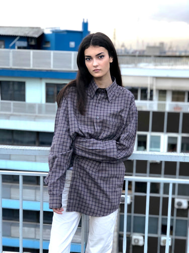 Mrs. Checkered (Grey) Vintage Shirt
