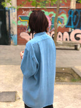 The back size of the oversized fitted unique vintage shirt