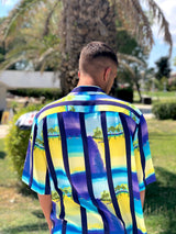 The back side of the colorful 1990s retro printed shirt.