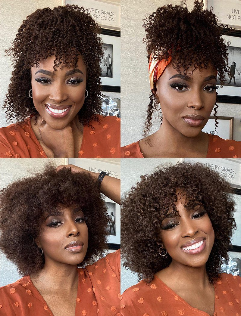 Nina Black Roots Medium Brown Base(#1BT#4 )Kinky Curls Headband Wigs(5 Pieces Free Trendy Headbands)