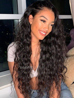Natural Wave Human Hair Glueless Full Lace Wigs Free Parting With Baby Hair