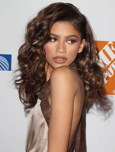 Zendaya Inspired Wavy Remy Human Hair Lace Front Wig Balayage Celebrity Wigs