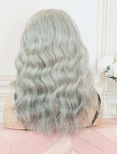 #Salt and Pepper Headband Wig Loose Wavy Human Hair Machine Made Wigs