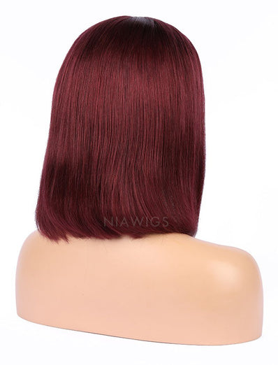 99j Human Hair Bob Wig Colorful Lace Wigs