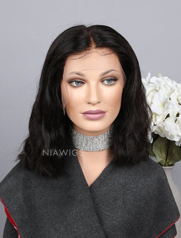 Natural Wavy Short Bob Human Hair Lace Front Wigs