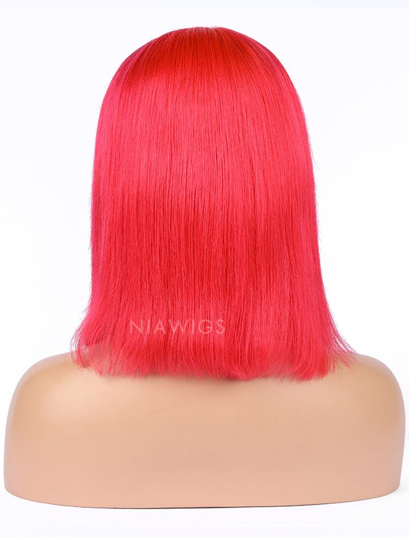Watermelon Red Human Hair Bob Wig Colorful Lace Wigs