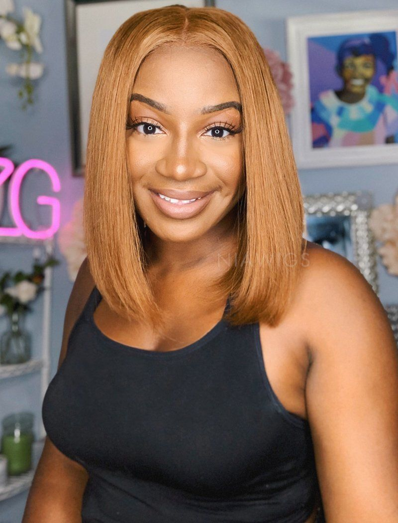 Emily | Virgin Hair 10 Inches Lace Front Wig #4 Medium Brown