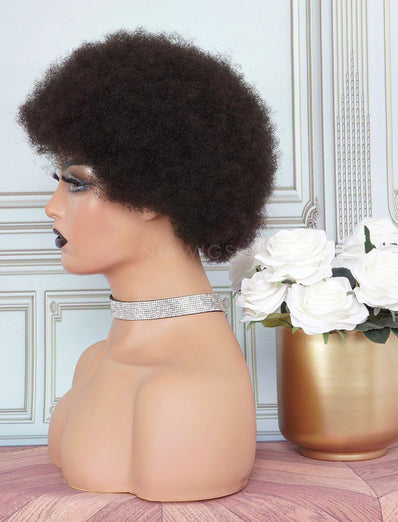Afro Kinky Curly Stock Wig 8 Inches Human Hair Full Machine Made Wigs