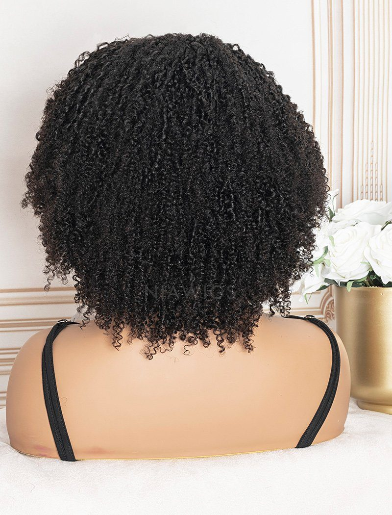 Scalp Top Wig Afro Kinky Curly Human Hair Wigs With Bangs Machine Made