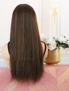 Load image into Gallery viewer, Gloria #Highlight Head Band Wig Silky Straight Human Hair Machine Made Wigs