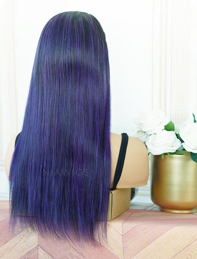 Amanda #Lavender Purple Headband Wig Human Hair Machine Made Wigs