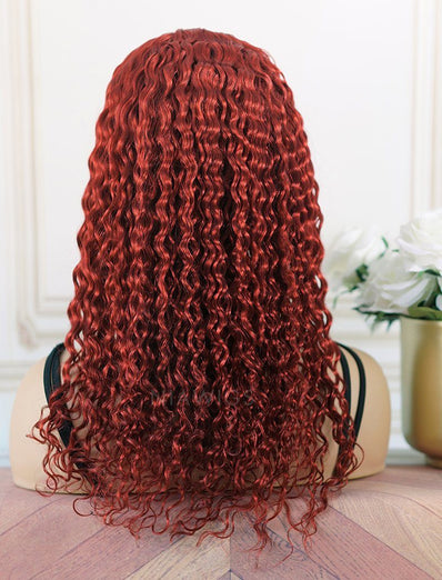 Nadra#Red Headband Wig Loose Curly Human Hair Machine Made Wigs