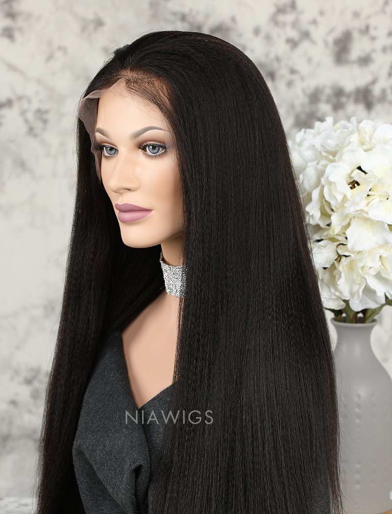Load image into Gallery viewer, Yaki Straight Human Hair Glueless Full Stretchable Wigs With Baby Hair