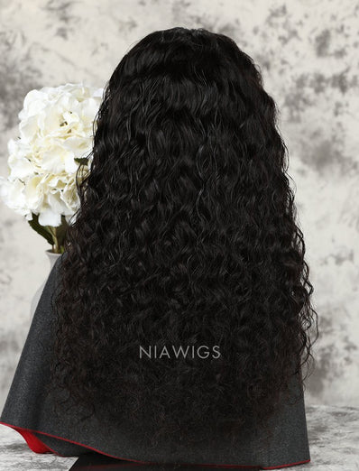 Loose Curly Human Hair Glueless Full Lace Wigs With Baby Hair