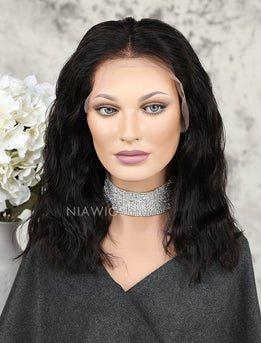 Short Bob Human Hair Fashion Wavy Lace Front Wigs With Natural Hairline