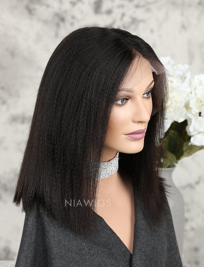 Yaki Straight Short Bob Human Hair Glueless Full Lace Wigs