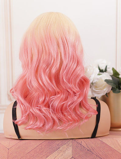 Bright Pink Head Band Wig Wavy Human Hair Machine Made Wigs