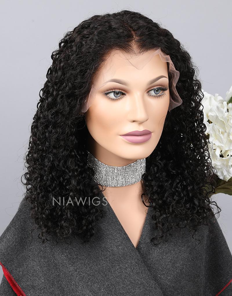 Curly Human Hair Glueless Full Lace Wigs With Baby Hair