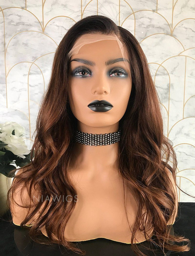 Adele | Remy Hair Lace Front Wig 16 Inches Black Roots&Medium Auburn