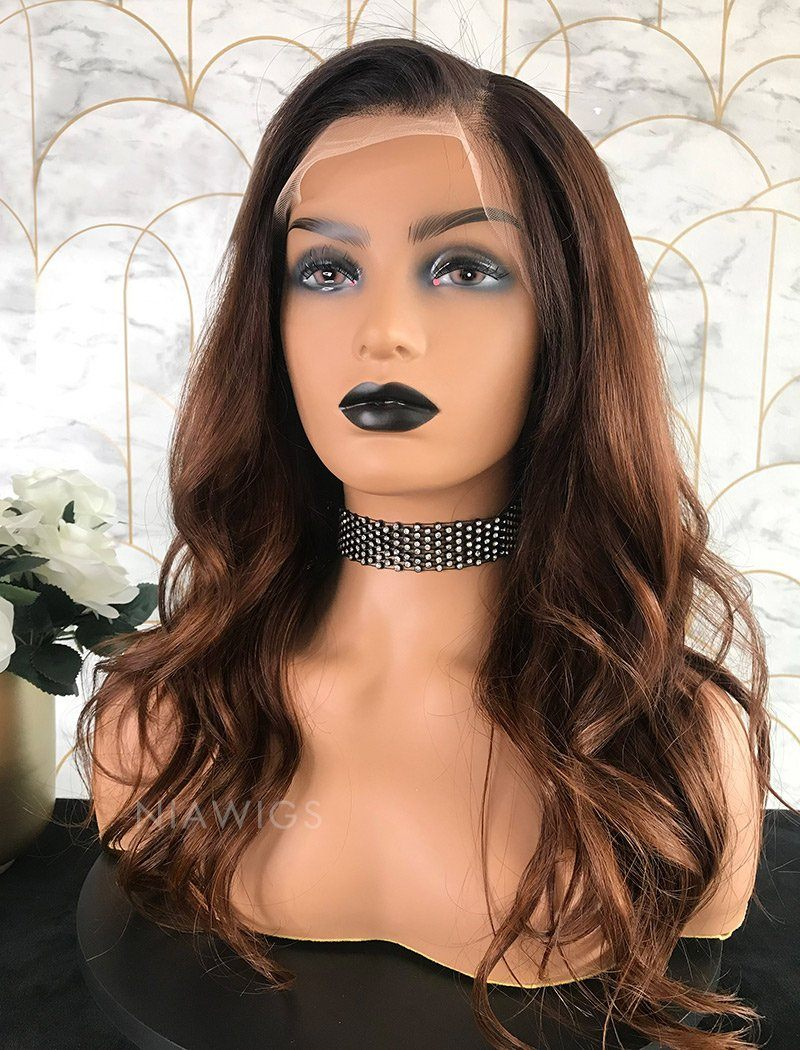 Adele Remy Hair Lace Front Wig 16 Inches Black Roots&Medium Auburn