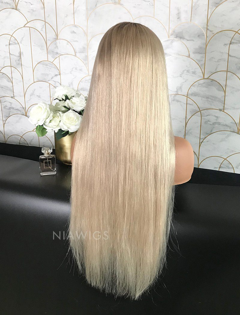 Sarah Remy Hair Lace Front Wig 24 Inches Black Roots & Silvery Blonde