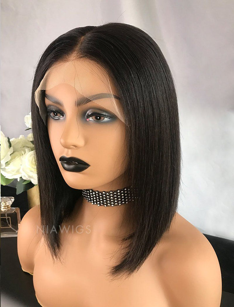 Babs | Virgin Hair 12 Inches Lace Front Wig Natural Black