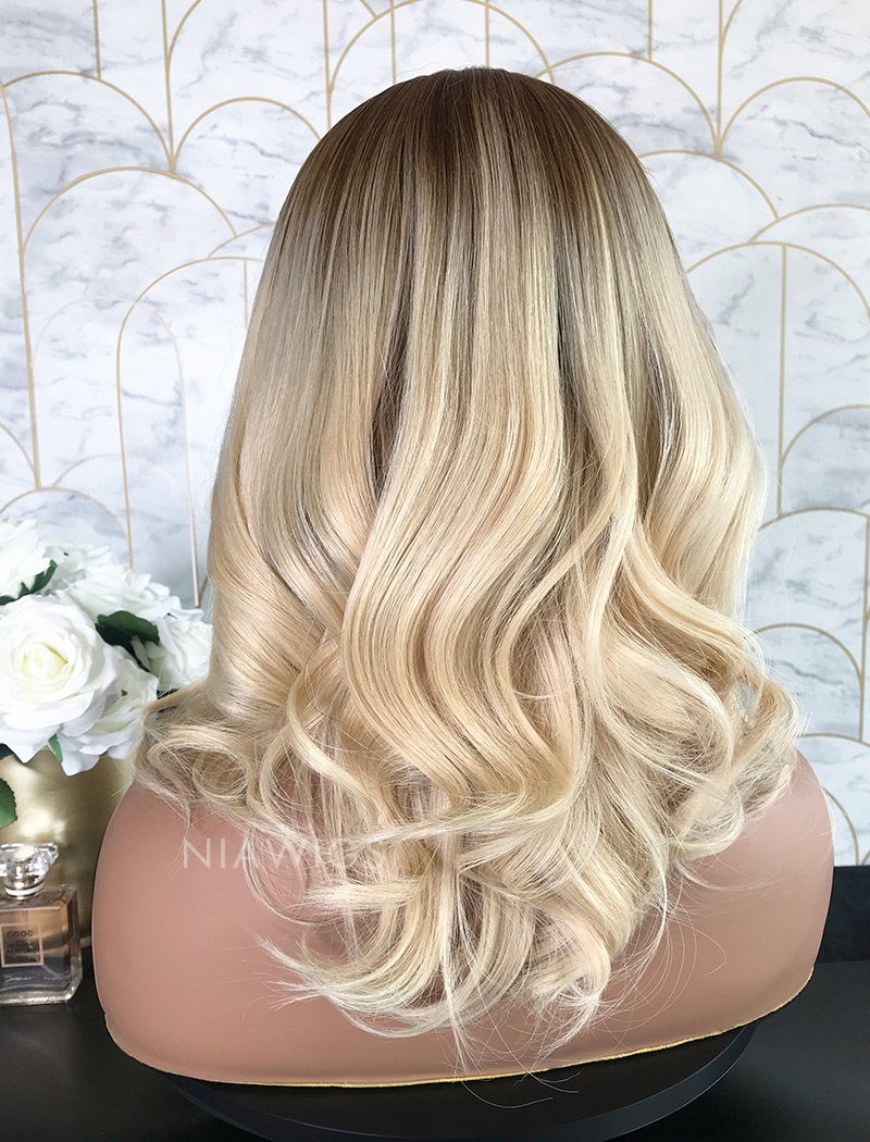 Load image into Gallery viewer, Lisa||Remy Hair 16 Inches Lace Front Wig Ombre #1B/Blonde