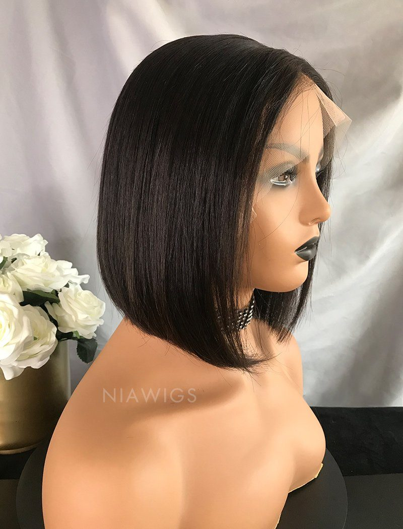 Bella Virgin Hair 10 Inches Lace Front Wig Natural Black