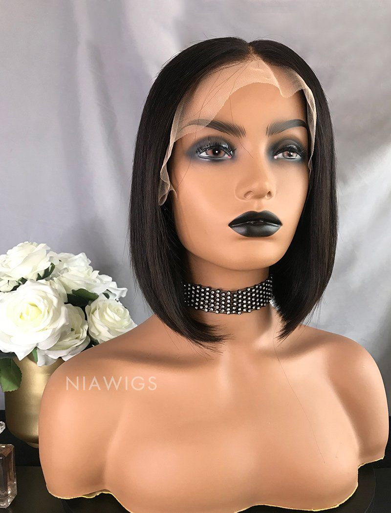 Load image into Gallery viewer, Bella||Virgin Hair 10 Inches Lace Front Wig Natural Black