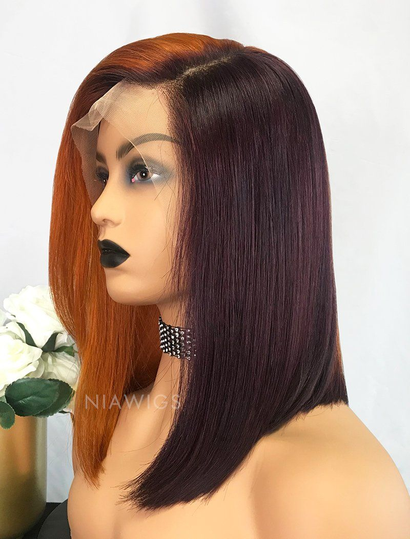 Load image into Gallery viewer, Lynn||Virgin Hair 12 Inches Lace Front Wig Orange&Grape Purple