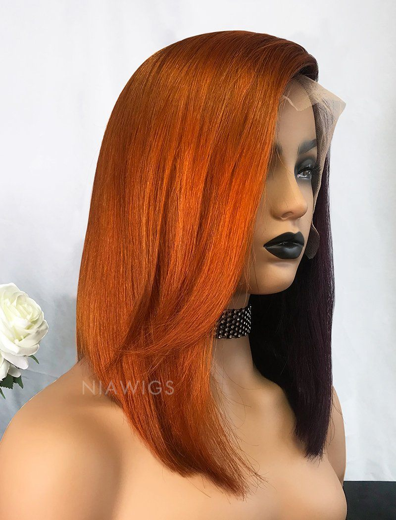 Load image into Gallery viewer, Lynn | Virgin Hair 12 Inches Lace Front Wig Orange&Grape Purple