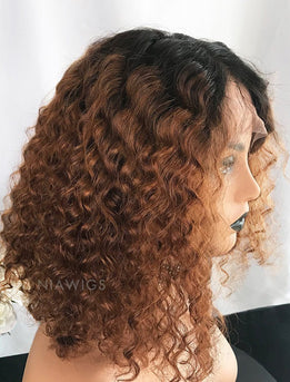 Christine||Remy Hair 14 Inches Lace Front Wig Ombre 1B/30