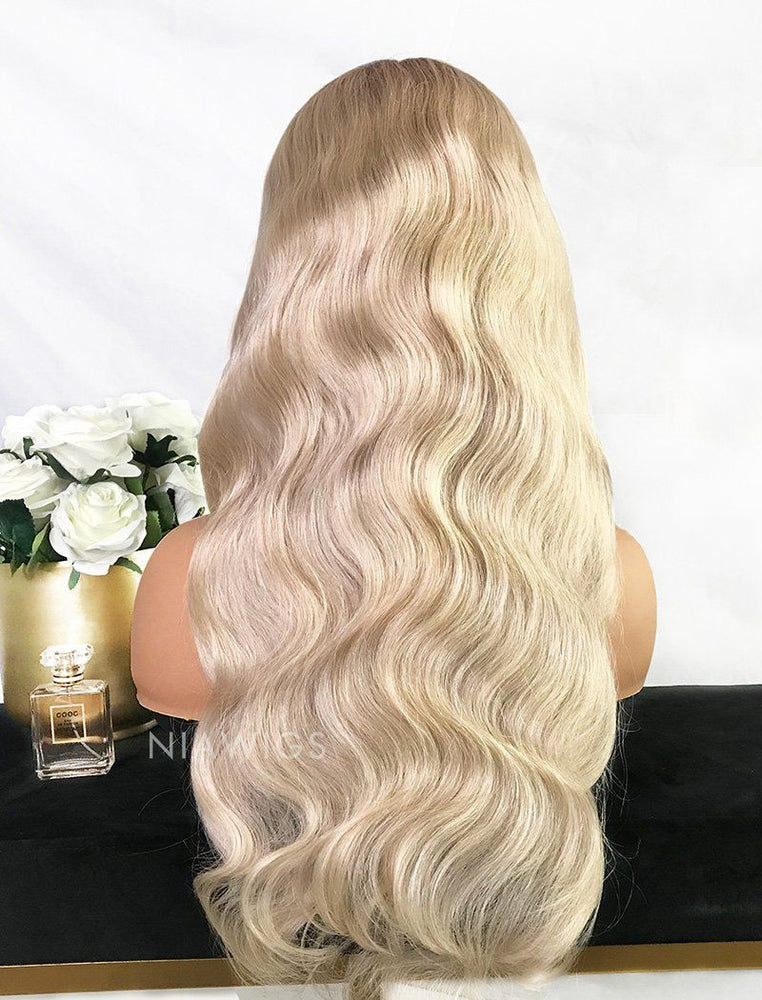 Sabina | Virgin Hair 22 Inches Glueless Full Lace Wig Black Roots&Platinum Blonde