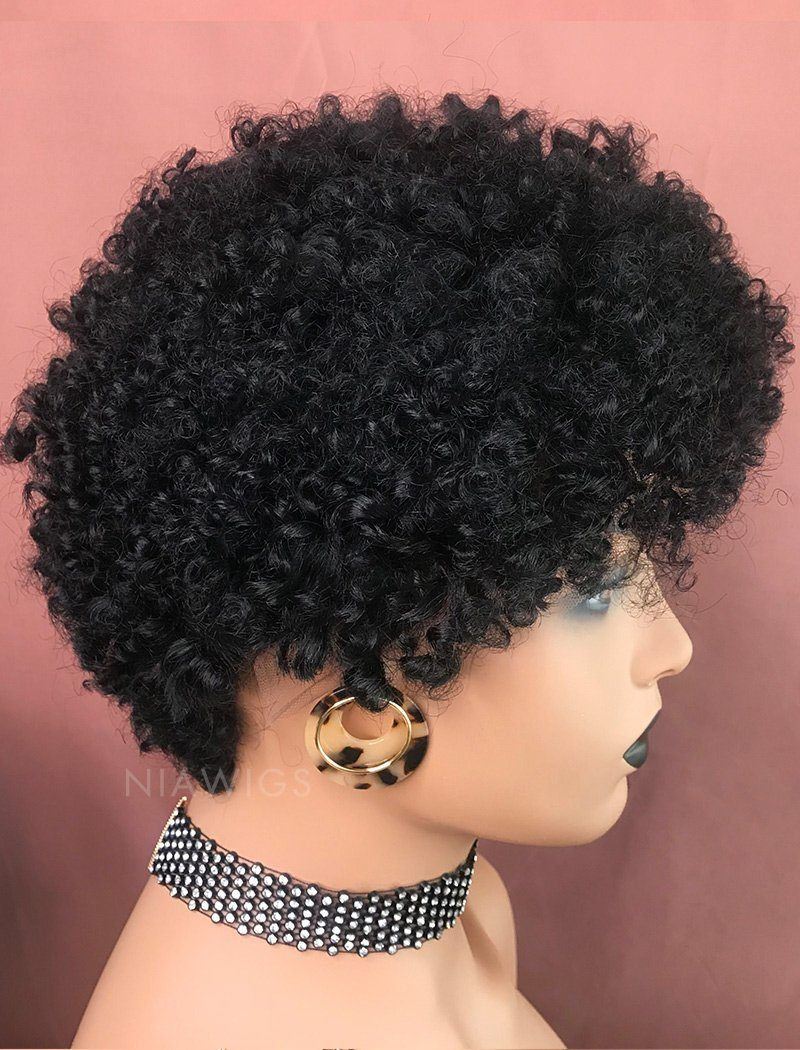 Load image into Gallery viewer, Naomi||Remy Hair 8 Inches Lace Front Wig Natural Black