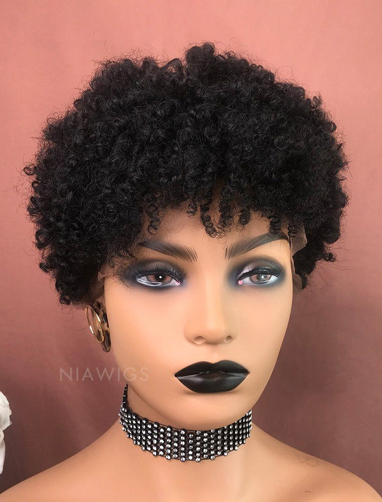 Naomi | Remy Hair 8 Inches Lace Front Wig Natural Black