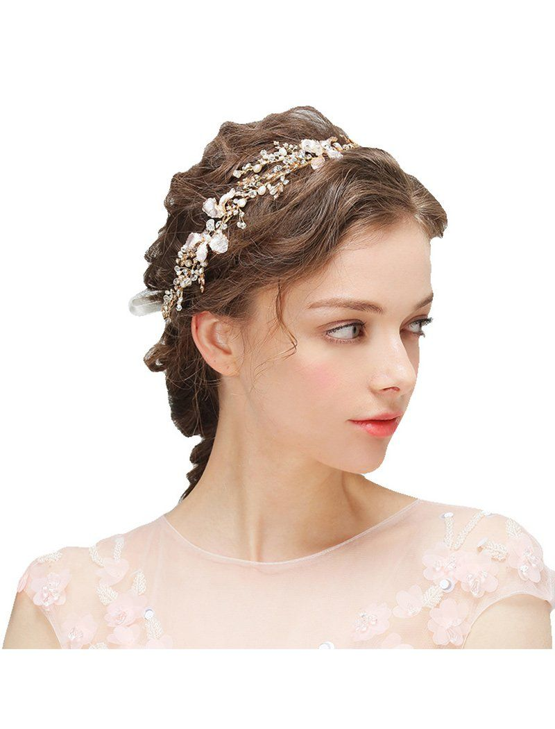 Load image into Gallery viewer, Fragile Crystal and Pearl Metal Crown Wedding Hair Wreath Hair Band with Ribbon