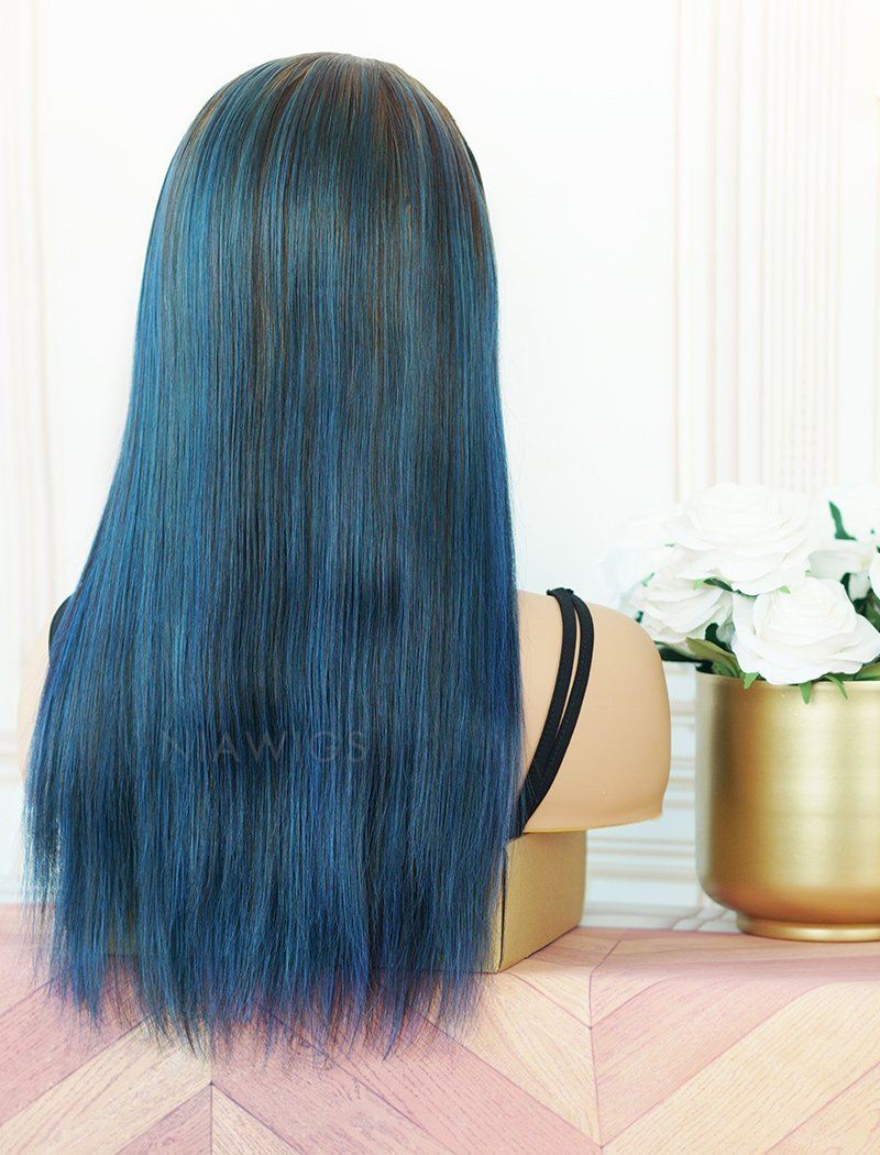 Kimberly #Ink Blue Headband Wig Human Hair Wigs (WITH ONE FREE TRENDY HEADBAND)