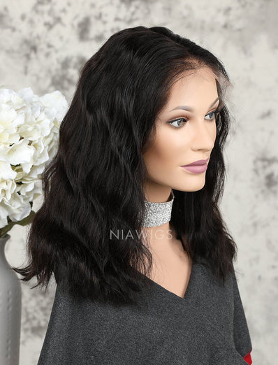 Fashion Bob Cut Natural Wavy Human Hair Glueless Full Lace Wigs