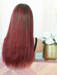 Load image into Gallery viewer, Barbara #Red Headband Wig Human Hair Machine Made Wigs