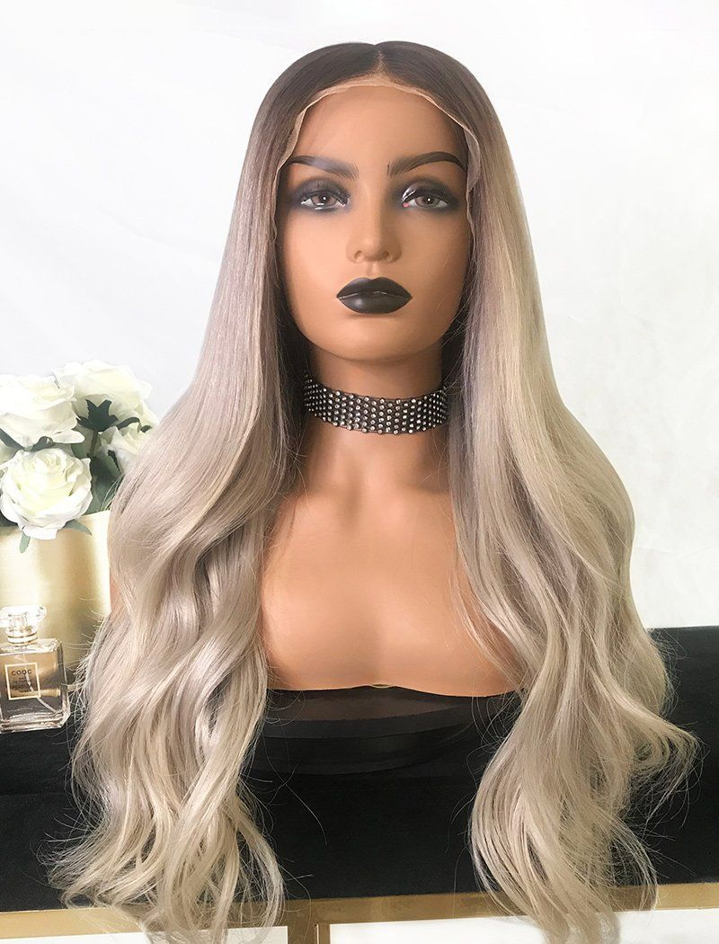 Load image into Gallery viewer, Yvette | Virgin Hair Full Stretchable Wig 22 Inches Brown Roots & Silvery Grey