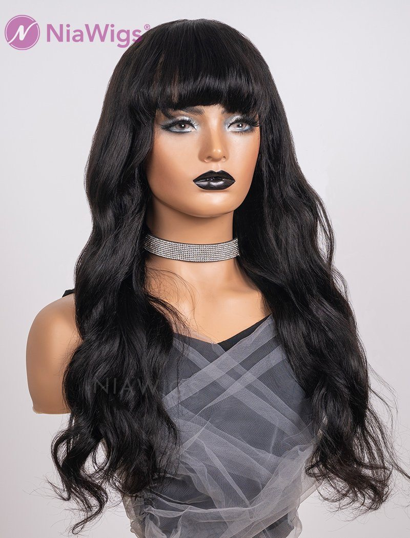 Scalp Top Wig Natural Wavy With Bangs Human Hair Wigs Machine Made