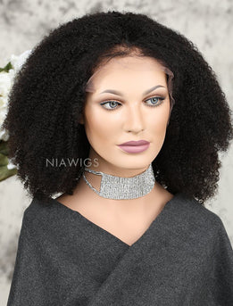 Afro Kinky Curly Human Hair Lace Front Wigs With Baby Hair